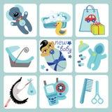 Leuke beeldverhalenpictogrammen voor Aziatische babyjongen. Pasgeboren reeks Stock Afbeeldingen