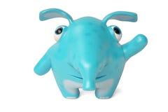 Leuke blauwe beeldverhaalolifant, 3D illustratie Stock Fotografie