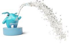 Leuke blauwe beeldverhaalolifant in water, 3D illustratie Stock Afbeelding