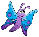 Leuke blauwe en purpere vlinder Stock Afbeeldingen