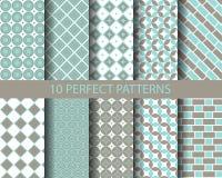 10 leuke blauwe geometrische patronen Royalty-vrije Stock Afbeeldingen
