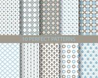 10 leuke blauwe geometrische patronen Royalty-vrije Stock Afbeelding