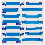 Leuke blauwe linten en banners Stock Foto