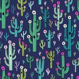 Leuke bloeiende cactussen op donkerblauwe achtergrond royalty-vrije illustratie