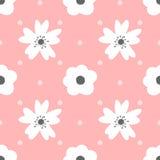 Leuke bloemen en stip Naadloos patroon voor meisjes vector illustratie