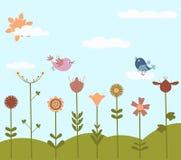 Leuke bloemen en vogels Stock Fotografie