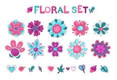 Leuke bloemen geplaatste elementen Royalty-vrije Stock Afbeeldingen