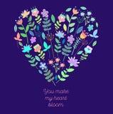 Leuke bloemen met bloemenachtergrond en met lege ruimte voor tekst vector illustratie