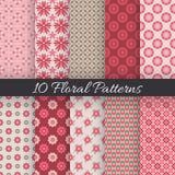 Leuke bloemen naadloze patronen Vector illustratie Stock Foto's