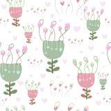 Leuke bloemenhart naadloze achtergrond met retro uitstekende bloemen Vectorhand getrokken bloemen vector illustratie