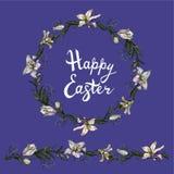 Leuke bloemenverwarring met eindeloze horizontale borstel en met de hand geschreven uitdrukking gelukkige die Pasen op de blauwe  royalty-vrije illustratie