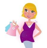 Leuke blonde het winkelen van het haarMamma kleding voor haar baby Stock Foto