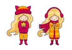 Leuke blondemeisjes Autumn Fashion royalty-vrije illustratie