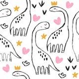 Leuke brontosaurus en krabbels naadloos patroon stock illustratie