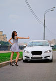 Leuke brunette en luxeauto Stock Afbeelding