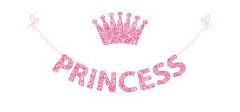 Leuke bunting zoals feestelijk schittert brieven en kroon voor uw decoratie stock illustratie