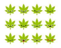 Leuke cannabis emoticons Stock Foto