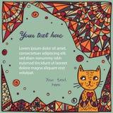 Leuke Cat On Abstract Background Stock Afbeeldingen