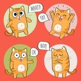 Leuke Cat Character met verschillende emoties Royalty-vrije Illustratie
