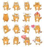 Leuke Cat Character met verschillende emoties Royalty-vrije Stock Foto
