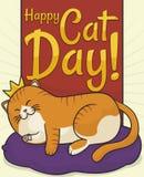 Leuke Cat Day van Chubby King Cat Resting en het Vieren, Vectorillustratie vector illustratie