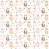Leuke Cat And Floral Pattern Background Stock Afbeeldingen