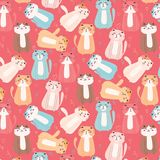 Leuke Cat And Floral Pattern Background Vector Illustratie