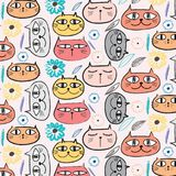 Leuke Cat And Floral Pattern Background Royalty-vrije Illustratie