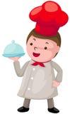 Leuke chef-kok met behandelde plaat vector illustratie