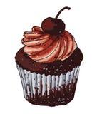 Leuke Chocolade Cupcake Stock Illustratie
