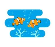 Leuke clownvissen op blauwe achtergrond stock illustratie