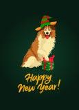 Leuke Collie Gelukkig Nieuwjaar stock illustratie