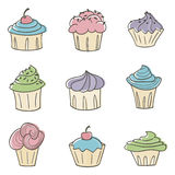Leuke Cupcakes vector illustratie