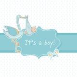 Leuke de aankondigingskaart van de babyjongen met ooievaar en kind Royalty-vrije Stock Afbeelding