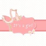 Leuke de aankondigingskaart van de babyjongen met ooievaar en kind Stock Foto
