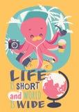 Leuke de affiche vectorillustratie van de beeldverhaaloctopus Grappige mascotte met camera, notitieboekje, skateboard, musicplaye vector illustratie