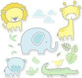 Leuke de babydieren van de kinderdagverblijfkunst Royalty-vrije Stock Foto's