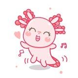 Leuke de danshouding van het axolotlbeeldverhaal in pastelkleur, baby amfibietekening, Ambystoma-mexicanum vector illustratie