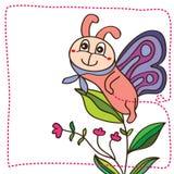 Leuke de glimlachkaart van de vlindermascotte Stock Afbeeldingen