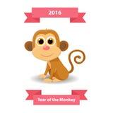 Leuke de groetkaart van het aap gelukkige nieuwe jaar 2016 nieuwjaarsymbool Stock Foto