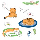 Leuke de groetkaart van Kerstmiskatten royalty-vrije illustratie