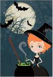 Leuke de heksenachtergrond van Halloween Royalty-vrije Stock Foto's