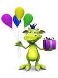 Leuke de holdingsballons van het beeldverhaalmonster en een gift. Royalty-vrije Stock Foto's