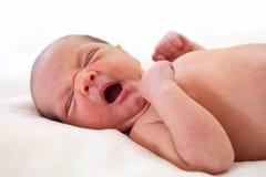 Leuke de jongen van de week oude baby geeuw Royalty-vrije Stock Fotografie