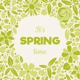Leuke de lentekaart met hand getrokken bloemen en groet Stock Fotografie