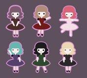 Leuke de stickerreeks van prinsesmeisjes Stock Foto