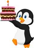 Leuke de verjaardagscake van de pinguïnholding vector illustratie