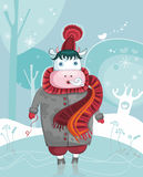 Leuke de winter vriendschappelijke koe Royalty-vrije Stock Fotografie