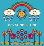 Leuke de zomeraffiche met tekst - illustratie Royalty-vrije Stock Afbeelding