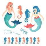 Leuke de zomermeerminnen met reeks van het de illustratiemotief van het seahorsesbeeldverhaal de vector Hand getrokken ge?soleerd royalty-vrije illustratie